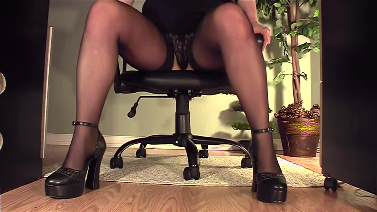 Woman masturbating under desk pantyhose