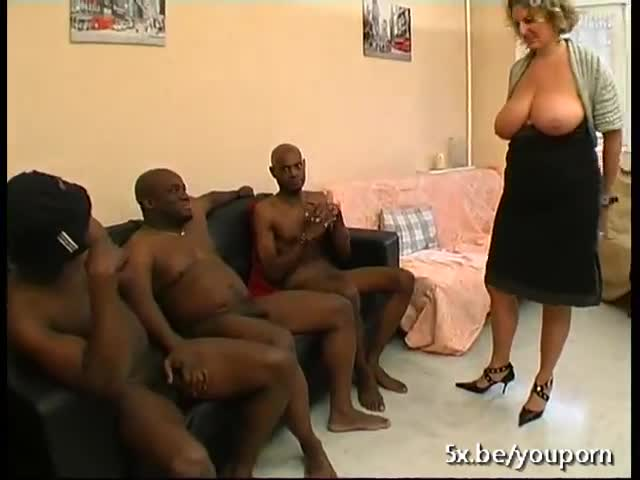 A french mature named lou gangbanged by black cocks 1
