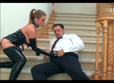 Chick in latex gloves blows two dudes