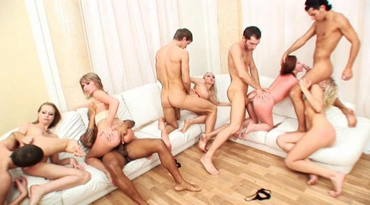 Saucy babes realize their fantasy to fuck in amazing orgy!