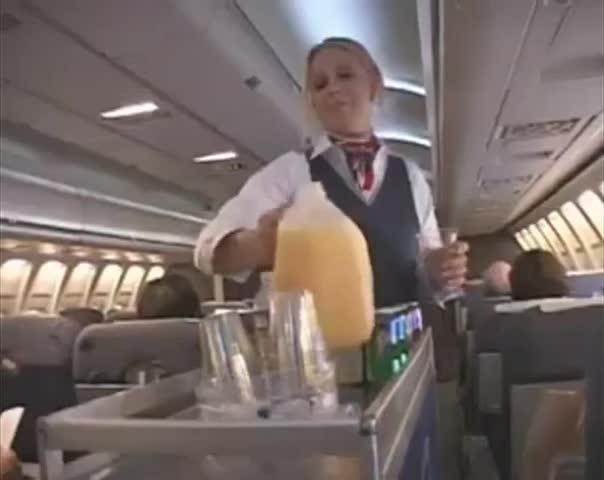 Stewardess and japanese guys fuck on plane 6
