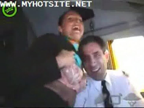 asian air hostess gives pleasure to passenger in public ...