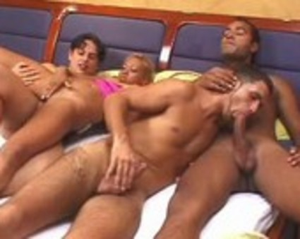 young ebony and ivory bisexuals getting busy in a moment of raw sex play.