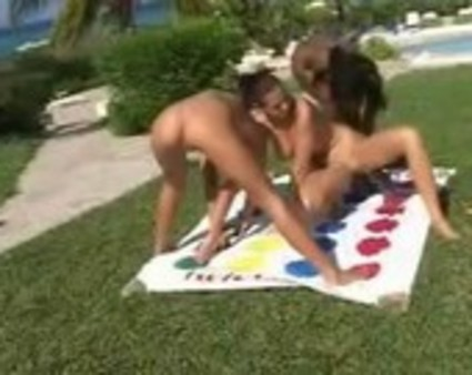 Lesbians playing nude twister