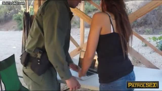 Brunette Babe Gets Smashed By Nasty Border Patrol Officer