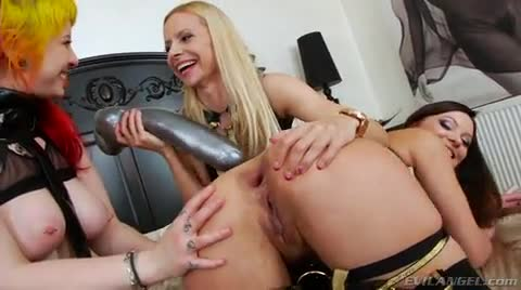 Two Wanton Lesbian Sluts Drill Butt Hole Of Skilled Brunette Bombshell With Giant Dildo