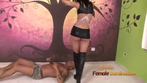 Fetish Mistress In Black Satin Facesitting On Slave