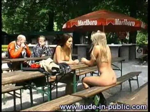 2 statuary girl totally nude in public places, in front of more people. woww