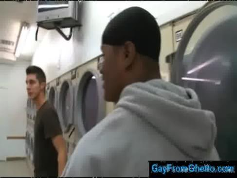 Black ghetto gay thug sucks white dick in public laundry shop