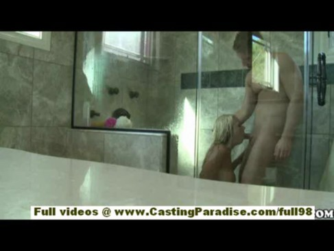 Briana Blair amateur teen blonde girlfriend with big ass doing blowjob and fucking in the shower