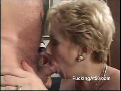 Horny blonde granny gets on her knees to blow a cock. She puts all her effort in that task. That cock need to be wet enough to fuck her dry old pussy.