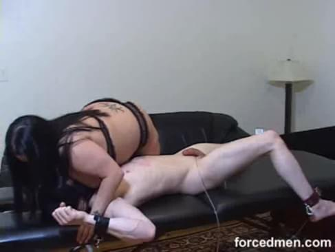 Big titted mistress smothers her tied up, masked slave using her huge boobs and masturbates his cock afterwards for her own satisfaction
