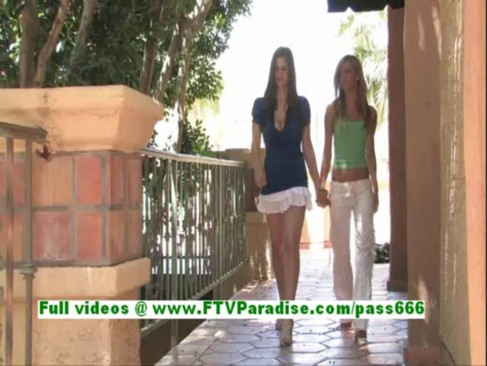 Leslie and Danielle amazing lesbian girls kissing and having sex outdoor