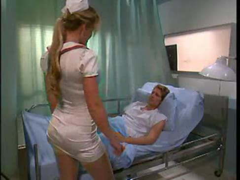 image Blonde nurse confronts two horny patients