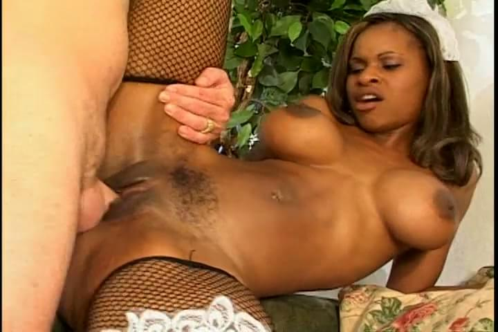 Horny daddy in suit drilling hot black maid pussy