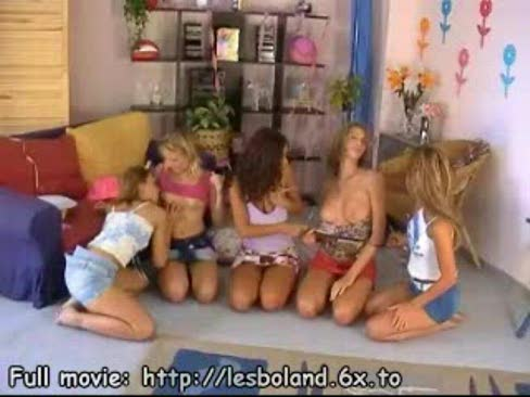Large group of teen lesbians strip and tease each others hot bodies