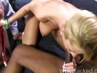 Cuckold wife prefers black dick while shamed husband watches in corner while she is loving the big black cock and hates his tiny white penis