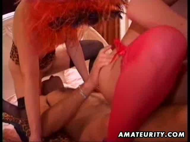 Homemade nasty two pussies versus one cock. Watch these horny amateur blonde milfs sharing big cock in hot threesome.