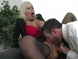 Amazing blonde milf with big tits getting pussy licked and doing blowjob at the office
