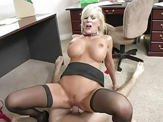 Busty blonde milf sucking cock and getting her pussy fucked hard at the office
