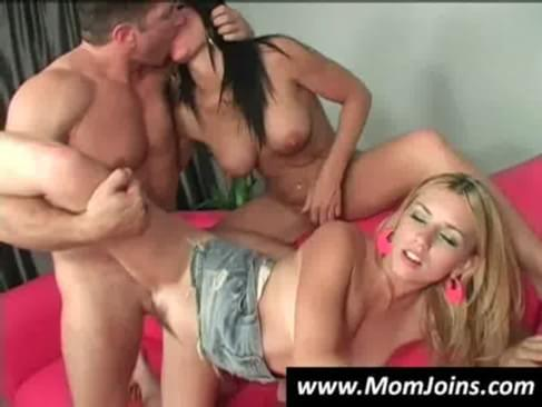 Hot mommy and her daughter fuck a horny dude