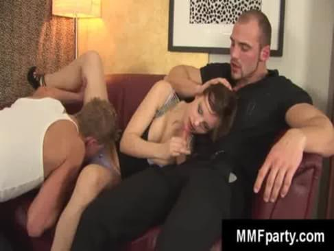 After not seeing their friend for years he came in to visit and these two hot kinky freaks invited him over for a present. He had no clue that he would get to fuck his friends hot wife and suck his c