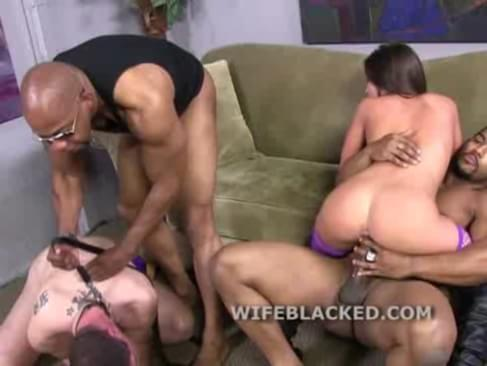 Beta male husband shamed as his cuckold wife fucks black cocks and has herself a good time while her white puppy husband watches from the corner
