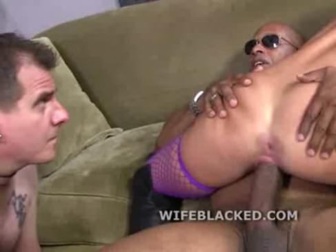 Cuckold wife fucks two dudes as her beta male husband watches in shame while she enjoys two black cocks to suck and fuck