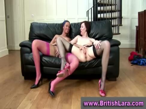 Movie showing a mature british lady in stockings and her lesbian friend showing off for a lucky guy