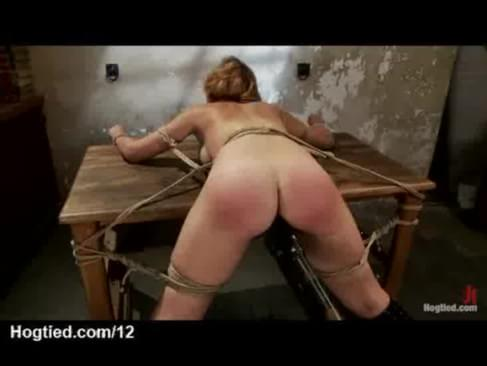 Girl tied to table fucked