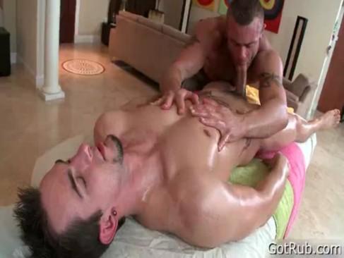 Dude gets his huge pierced dick massaged