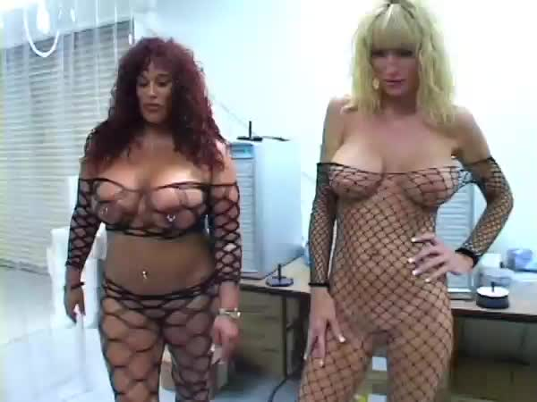 Those two old and chubby bitches, one blonde and one redhead, love to share a large and hard cock