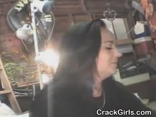 Dirty brunette amateur crack whore sucking on a dick for cash point of view.