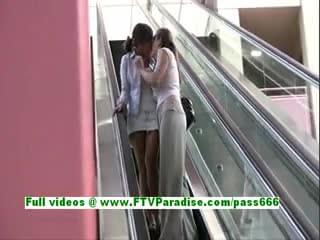 awesome lesbian womans kissing and public flashing tits and having great time