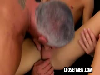 A handsome distinguished old gray man is fucking up a storm with a skinny twink hottie and his tight hole