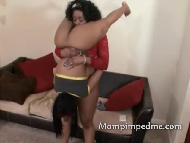 Ebony milf and teen lesbian