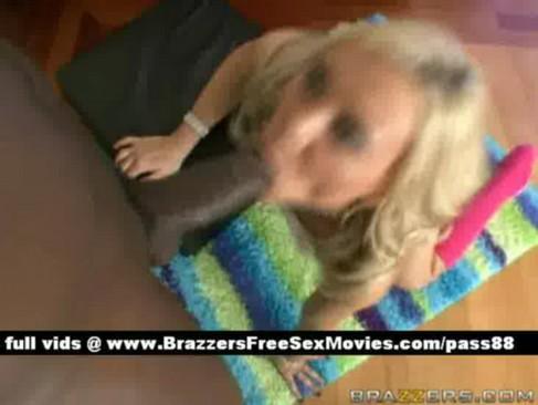 Amateur naked blonde slut on the floor gets a blowjob to a huge black cock