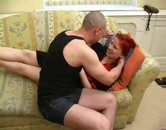 Redhead mom fucks her son