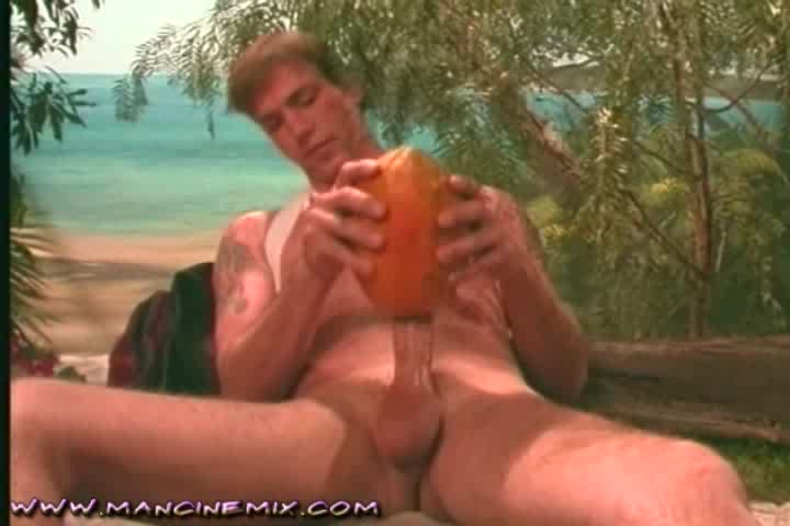 Teen Stroking His Cock With A Fruit