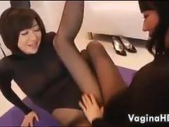 Asian lesbians in pantyhose
