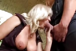 Mature blonde getting face fucked