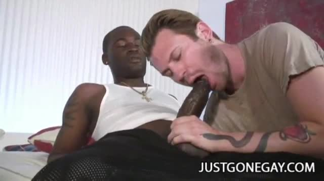Great interracial gay scene with big black dick