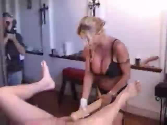 Hubby fucks strapon wife