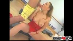 Big tits girl femdom with cumshot