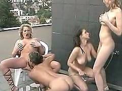 Big tits lesbian oragy