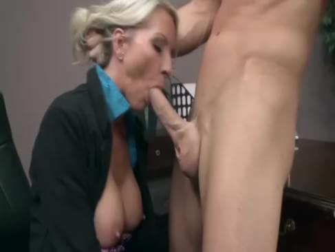 Big titted office milf gets throat fucked after oral