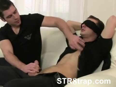 Blindfolded straight dude blown cock hungry gay