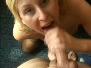 Swallowing cum amateur Blonde