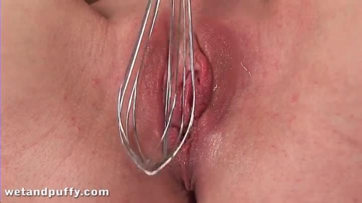 utensils kitchen fucking Girl with