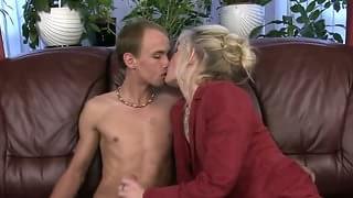 Mature woman seduces blonde